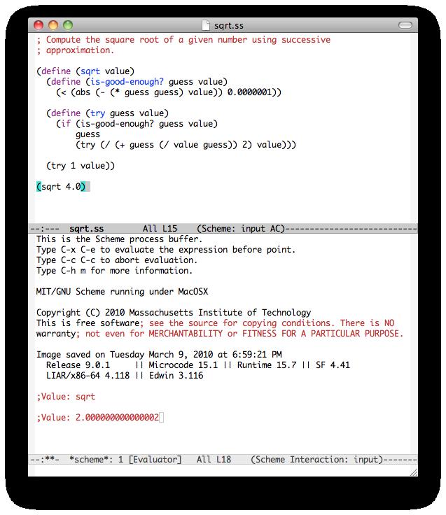 MIT Scheme under GNU Emacs